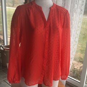 LC Lauren Conrad orange sheer blouse large